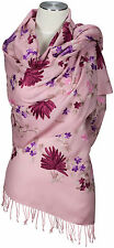 Pashmina Schal Rosa Pink bestickt 100% Wolle pure wool scarf embroidered Fuchsia