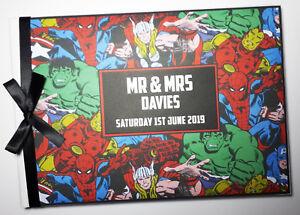 Personalised comics wedding guest book, marvel wedding album, gift, black