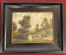 Ölbild, Kühe im Wasser, Landschaft,Neuburg a.d.Donau, Clemens Werner, ca. 1900