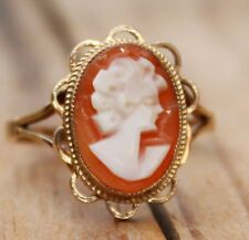 Vintage 9ct Ring Gold Shell Cameo Jewellery Jewelry 9 Carat 9K Sml Sz S Large