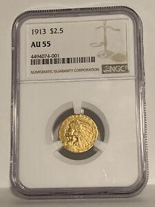 1913 2.50 Gold Indian NGC AU55