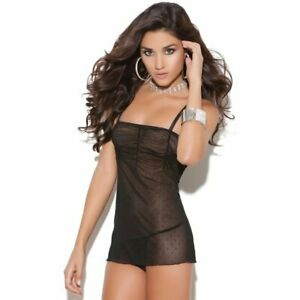 Mesh & Dot Babydoll with Matching G-Stringl Adult Woman Lingerie Clothing