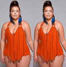 New Plus Size Women Summer Push Up Padded Tassel Bikini &Swimwear Cover Up Dress