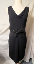Sz. 10 Kay Unger Sequined Bow Accented Cocktail Dress Black