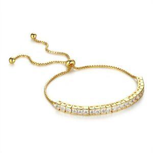 Womens Sterling Silver Cubic Zirconia Adjustable Tennis Bracelet- Square CZ