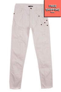 RRP €125 JOHN RICHMOND Jeans Size 14Y Ripped Studded Frayed Cuffs Made in Italy