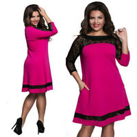 Plus Size Women Lace Flower Dresses 3/4 Sleeve Ladies Summer Casual Dress L-6XL