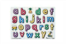 Childs Toddlers Wooden Educational Toy Peg Puzzles Alphabet Numbers Shapes