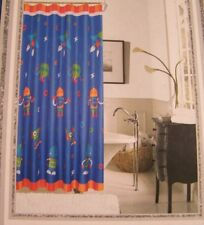 "New! TopCare Kids Robots Shower Curtain 71"" x 71"" Space Rocket Spaceship Blue"