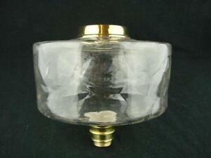 BEAUTIFUL LGE VICTORIAN CLEAR GLASS OIL LAMP FONT, MOULDED PATTERN DECORATION