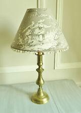 BELLE LAMPE ANCIENNE ABAT-JOUR TOILE DE JOUY COLIN MAILLARD TAUPE GRIS POMPONS