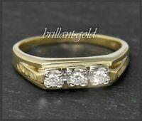 Diamant Brillant 0,17ct Damen Ring, 585 Gold, Antik um 1930, Weißgold & Gelbgold