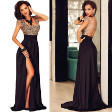 Sexy Lace Sequin Top Slit Maxi Formal Prom Ball Party Gown Evening Long Dress 12
