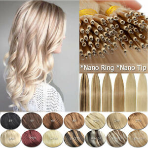 """14""""-24"""" 1g 7A* Nano Ring Tip Micro Bead Double Drawn Remy Human Hair Extensions"""