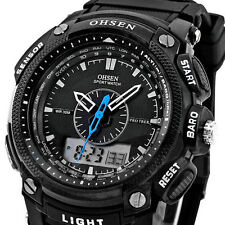 OHSEN Black Waterproof Digital LCD Day Alarm Mens Military Sport Rubber Watch B4
