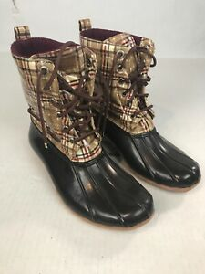 Sperry Top Siders Women's Duck Boot Brown Plaid Size 9
