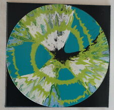 "12"" Lp Mounted Art Acrylic Paint Pour Painting Sectioned Teal Lime Black Sky"