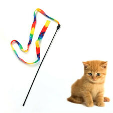 Pet Cat Toys Rainbow Cloth Stripe Tease Cats Rod Teaser Funny Playing Toy Newly