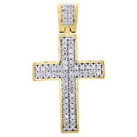"""Real Diamond Cross Charm Sterling Silver Yellow Finish 1.10"""" Dome Pendant 1/4 CT"""