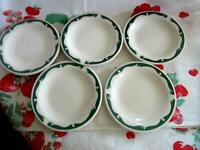 "Homer Laughlin Restaurant Ware 5 1/2"" Dessert Dishes Lot of 5 Wintergreen"