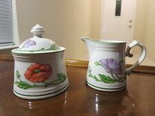 VILLEROY & BOCH AMAPOLA SUGAR BOWL WITH LID AND CREAMER