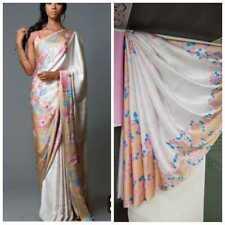 Multi Color Print Floral Saree Designer Sartin Silk Fancy Party Wear Saree Sari