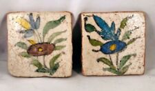 Pair of Antique Hand Potted Terra Cotta Tiles Primitive Flower Design $1 Nr