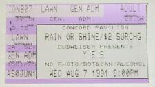 YES UNION TOUR Concert 1991 - Ticket Stub