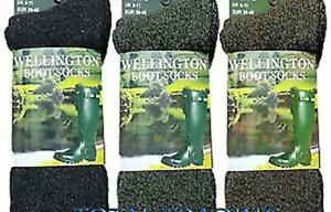 Mens/womens wellington boot socks wellie welly FULLY CUSHIONED MADE WITH WOOL