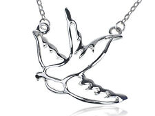 Lady Peace Sparrow Flying Bird Cut Out Silver Tone Metallic Pendant Necklace