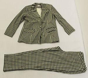Monroe & Main Women's Gingham Pattern Pants Suit Set MP7 Black/White Size 16