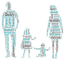 Family - Mummy, Daddy & Children Personalised Word Art print