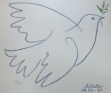PABLO PICASSO COLOMBE BLEUE SIGNED HAND NUMBERED 606/1000 LITHOGRAPH BLUE DOVE
