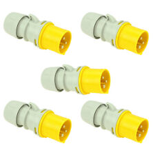 5x 16 AMP PCE Shark Series Male Ceeform Yellow Plug 110V 2P+E Cable Mount 16A
