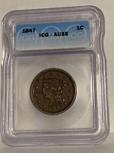 1847 Large Cent AU55 ICG Gorgeous old US copper!!