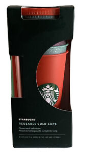 STARBUCKS - Limited Edition Reusable 5 Pack Glitter Cups 24oz/Holiday Release