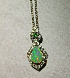 """ETHIOPIAN OPAL CHROME DIOPSIDE WHITE ZIRCON NECKLACE 18"""" Sterling Silver"""