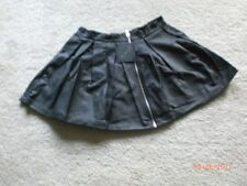 NWT Lip Service Black Faux Leather Pleated Skater Skirt XL