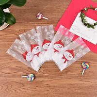 50 Pcs Christmas Bag Santa Claus Snowman Cellophane Cookie Fudge Candy Gift