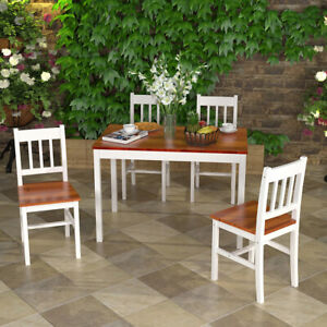 Brown&White Solid Wood Dining Table and 4 Chairs Set Home Kitchen Furniture Set