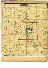 Antique 1870 Map of Perry Ohio with family names from Atlas of Columbiana County