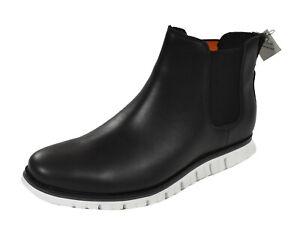 Men's Cole Haan Black Leather Zerogrand Chelsea Waterproof Boots C31580 New
