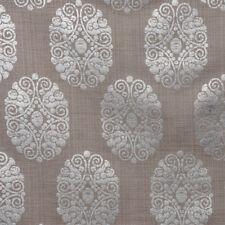 Dekostoff Leinenstruktur Adagio Ornament Metallicprint taupe silberfarbig