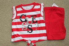Guess Jeans 5 5T 6 Shirt Top Pants Leggings 2 Pc Sequins Red White NWT