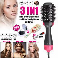 3in1 One-Step Hair Blow Dryer & Volumizer Straightener Curler Comb Hot Air
