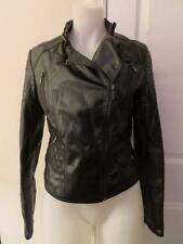 """NWT WOMENS SOPHIE MAX """"ROMANA"""" BLACK FAUX LEATHER JACKET - SIZE L"""