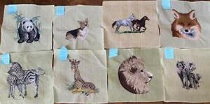 Vintage 8 Animals Preworked Needlepoint Canvasses Hand-Made Pictures,Pillows