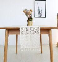 Crochet Tablecloth Decoración de mantel Manteles individuales de encaje blanco