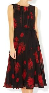 HOBBS HUXLEY ROSE RED BLACK SILK CHIFFON 50'S FIT FLARE MIDI DRESS 10 ONCE £189