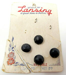 """4 Shank Buttons 1/2"""" Plastic Blue Faceted Dome Lansing Card Vintage Blouse Shirt"""
